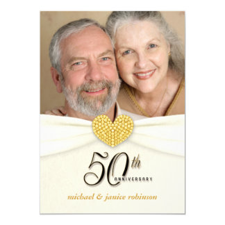 "50th Anniversary Party Invitations - Classic Ivory 5"" X 7"" Invitation Card"