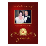 50th Anniversary Party Invitations - Elegant Red Cards