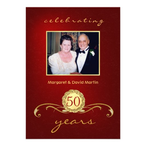 50th anniversary party invitations elegant red - 50th Anniversary Party Invitations