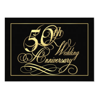 50th Anniversary Party Invitations - Formal Gold
