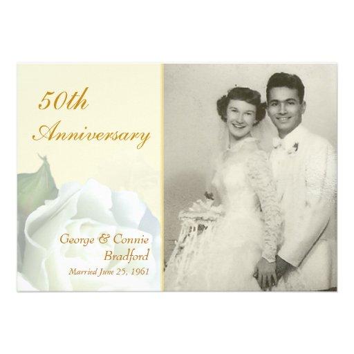 50th Anniversary Party Invitations - Romantic Rose