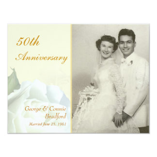50th Anniversary Party Invitations - White Roses