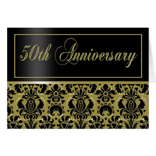 50th Anniversary Party Invite (Chaucer/black gold) Card