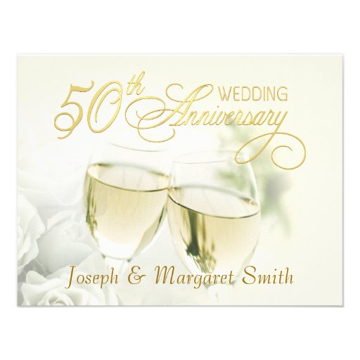 Th anniversary party ivory rsvp reply cards custom