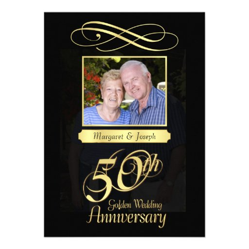 50th Anniversary Party Photo Invitations