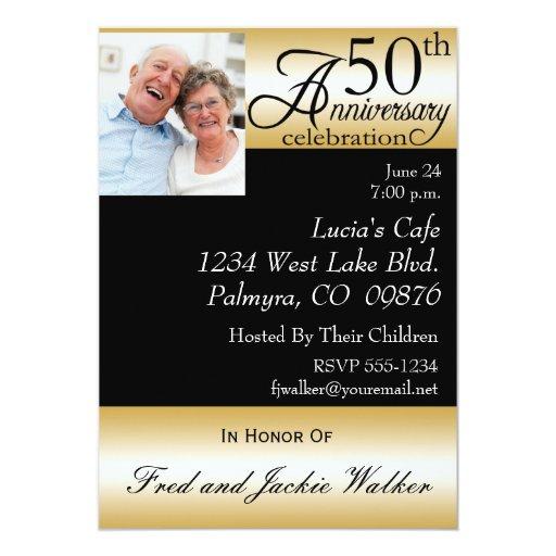 "50th Anniversary Party Photo  Invitations 5"" X 7"" Invitation Card"