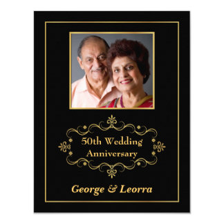 50th Anniversary Party - Vintage Black & Gold Card