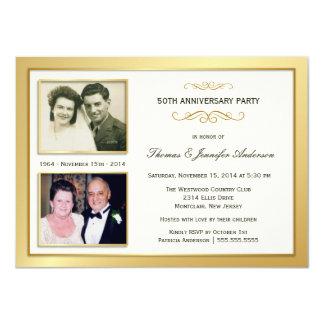 """50th Anniversary Past & Present Photo Invitations 4.5"""" X 6.25"""" Invitation Card"""