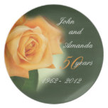 50th Anniversary Peach Rose Plate- customize