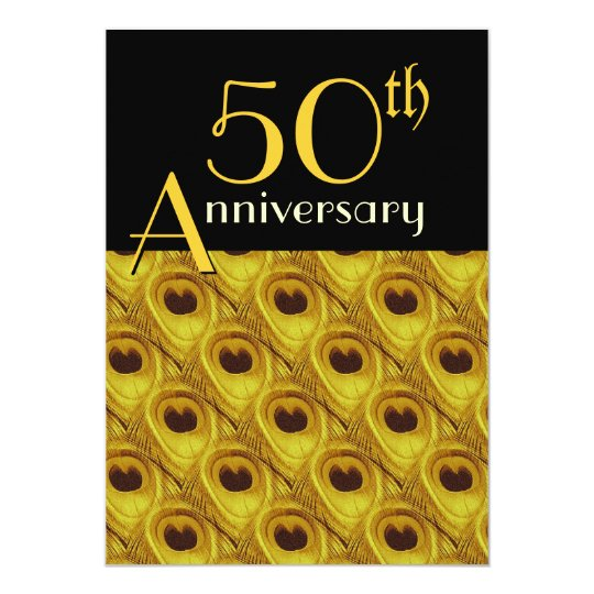 50th Anniversary Peacock Feathers Gold Card