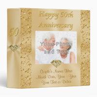 50th Anniversary Photo Album Couple's Photo, Names 3 Ring Binder