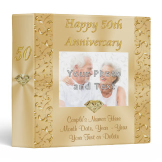 50th Anniversary Photo Album Couple's Photo, Names 3 Ring Binder