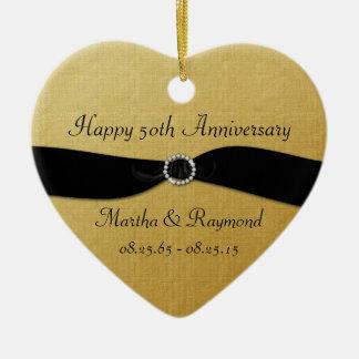 50th Anniversary Photo Gold Black Ribbon Diamonds Ornament