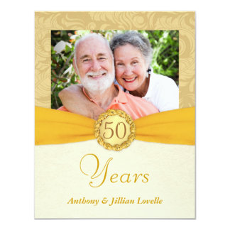 50th Anniversary Photo Invitations -Antique Damask