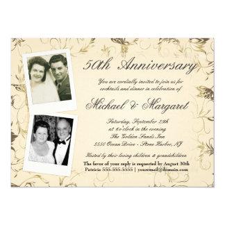 """50th Anniversary - Photo Invitations - Then & Now 5.5"""" X 7.5"""" Invitation Card"""
