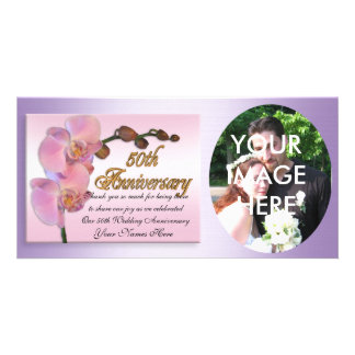 50th anniversary photo Thank you Pink Orchids Photo Cards