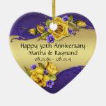 50th Anniversary Photo Yellow Roses Purple Pansies Ceramic Ornament