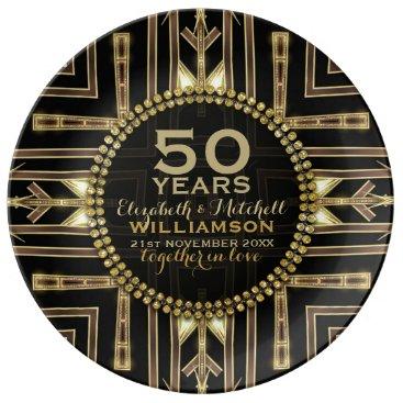 Aztec Themed 50th Anniversary Plate | Black  Gold Art Deco