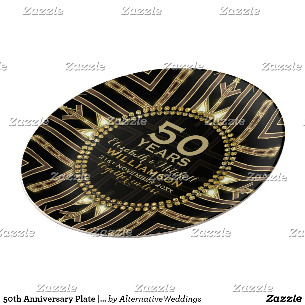 50th Anniversary Plate | Black+ Gold Art Deco