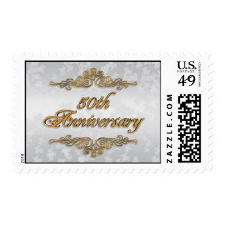 50th Anniversary  postage stamp with 3D gold text