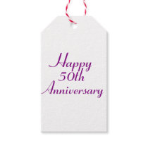 50th Anniversary Purple Text Gift Tags Template