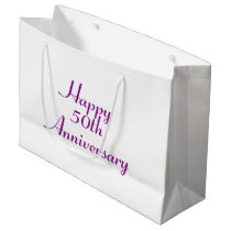 50th Anniversary Purple Text Template Gift Bag
