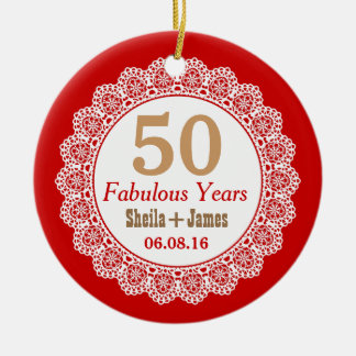 50th Anniversary Red and Tan with Lace V01 Ceramic Ornament