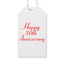 50th Anniversary Red Text Gift Tags Template