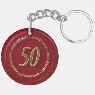 50th anniversary red wax seal keychain