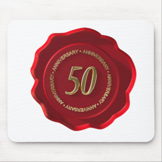 50th anniversary red wax seal mouse pad