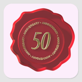 50th anniversary red wax seal square sticker