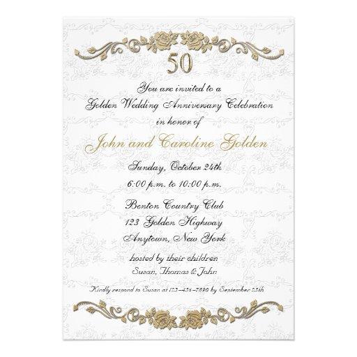 Personalized lace wedding anniversary invitations 50th anniversary rose border white invitation stopboris Gallery