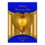 "50th Anniversary Royal Blue Gold Golden Heart 4.5"" X 6.25"" Invitation Card"