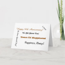 50th Anniversary sayings in black & gold on white. Card