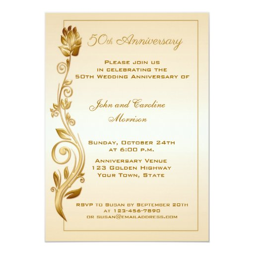 50th Anniversary Scrolled Floral 5x7 Paper Invitation Card