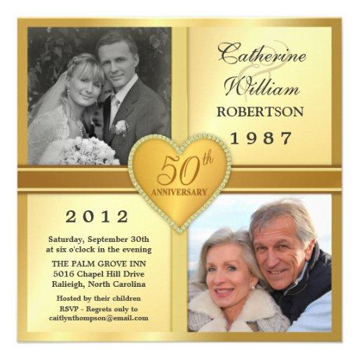 50th Anniversary Sparkle Heart Photo Invitations 5.25 ...