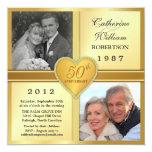 """50th Anniversary Sparkle Heart Photo Invitations 5.25"""" Square Invitation Card"""