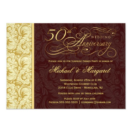 50th Anniversary Surprise Party - Gold Damask Card