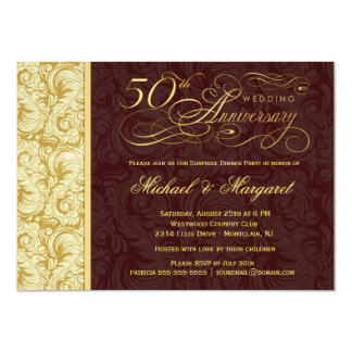 50th Anniversary Surprise Party - Gold Damask 4.5x6.25 Paper Invitation Card