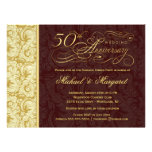 50th Anniversary Surprise Party - Gold Damask Invitation