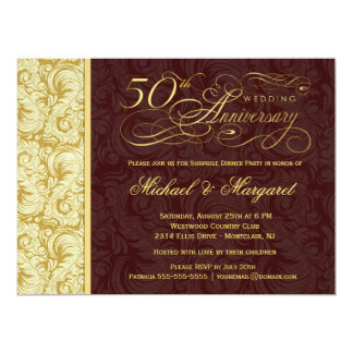 50th Anniversary Surprise Party - Gold Damask 6.5x8.75 Paper Invitation Card