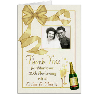 50th Anniversary Thank You Cards - Vintage Bow