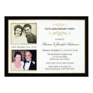 """50th Anniversary Then & Now Photo Invitations 4.5"""" X 6.25"""" Invitation Card"""