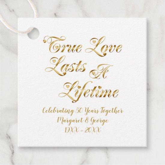 50th Anniversary True Love Lasts a Lifetime Favor Tags