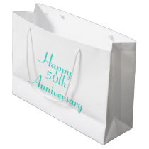 50th Anniversary Turquoise Text Template Gift Bag