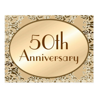 50th Anniversary Vintage Damask Postcards