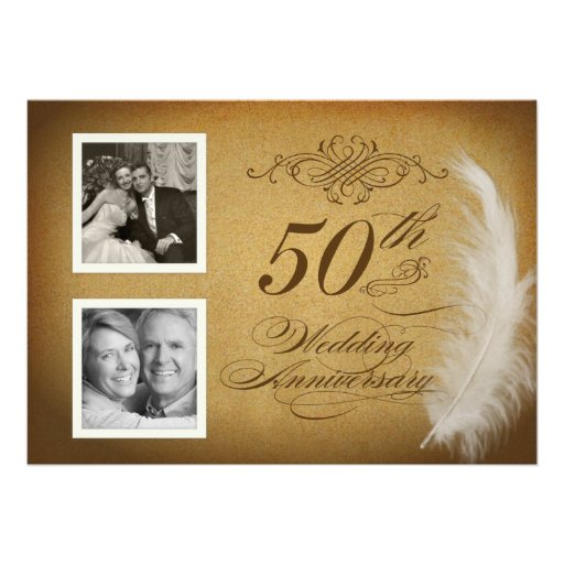 50th Anniversary Vintage Feather 2 Photo Invites