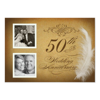 50th Anniversary Vintage Feather 2 Photo Invites