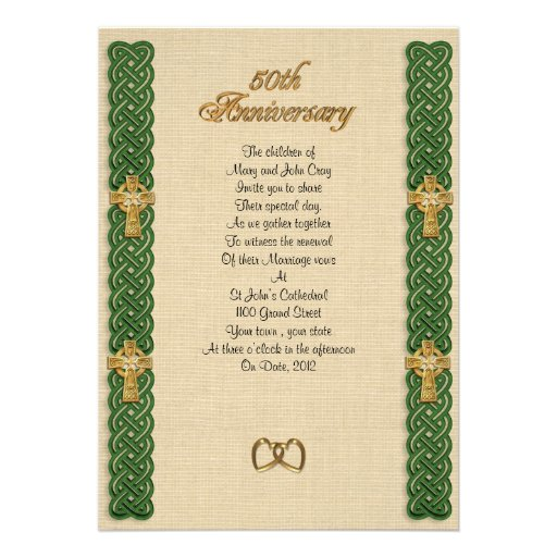 50th Wedding Anniversary Borders: 50th Anniversary Vow Renewal Celtic Knot Borders 5x7 Paper