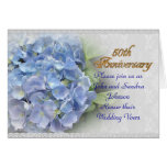 50th anniversary vow renewal hydrangeas blue greeting cards
